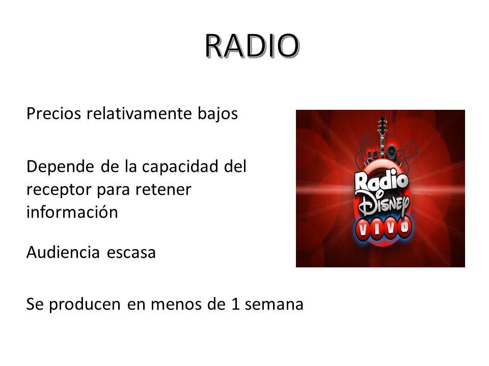 RADIO Precios relativamente bajos