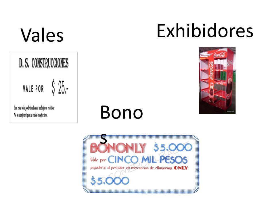 Exhibidores Vales Bonos