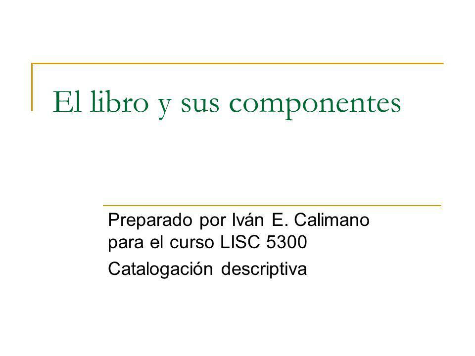 El libro y sus componentes