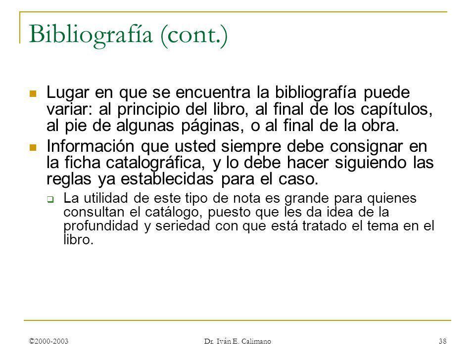 © Dr. Iván E. Calimano 24 de marzo de 2017. Bibliografía (cont.)