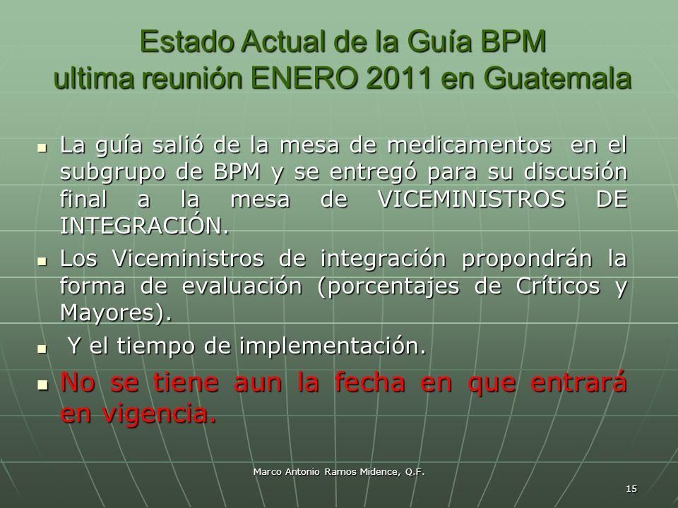 Estado Actual de la Guía BPM ultima reunión ENERO 2011 en Guatemala