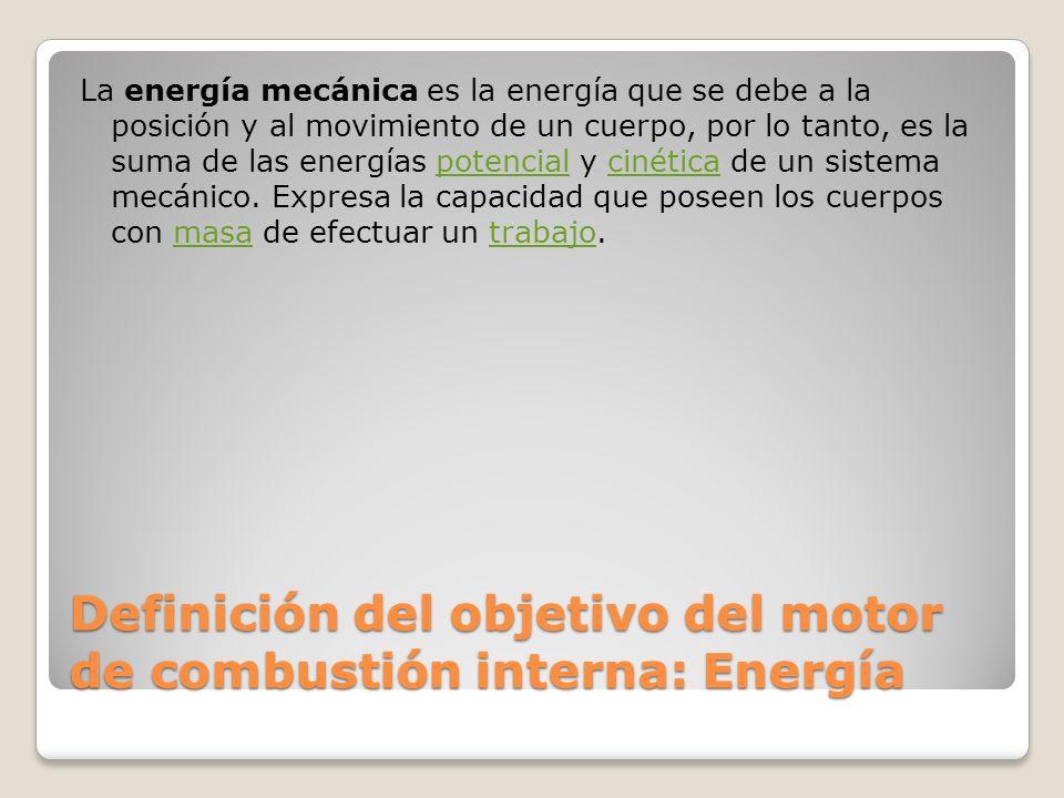 Definición del objetivo del motor de combustión interna: Energía