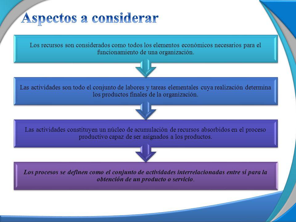Aspectos a considerar Los recursos son considerados como todos los elementos económicos necesarios para el funcionamiento de una organización.