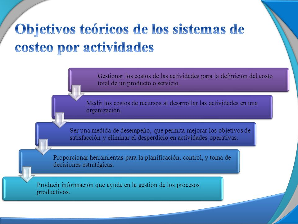 Objetivos teóricos de los sistemas de costeo por actividades