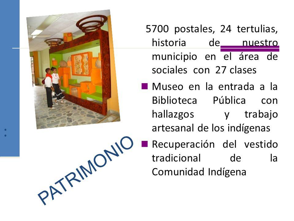 : 5700 postales, 24 tertulias, historia de nuestro municipio en el área de sociales con 27 clases.