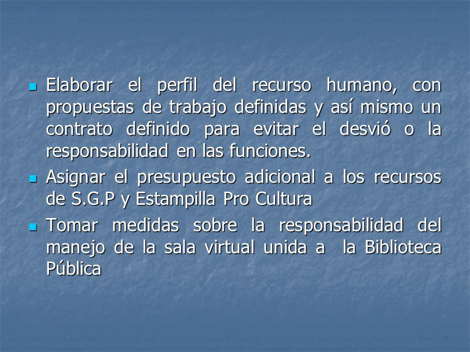 Elaborar el perfil del recurso humano, con propuestas de trabajo definidas y así mismo un contrato definido para evitar el desvió o la responsabilidad en las funciones.