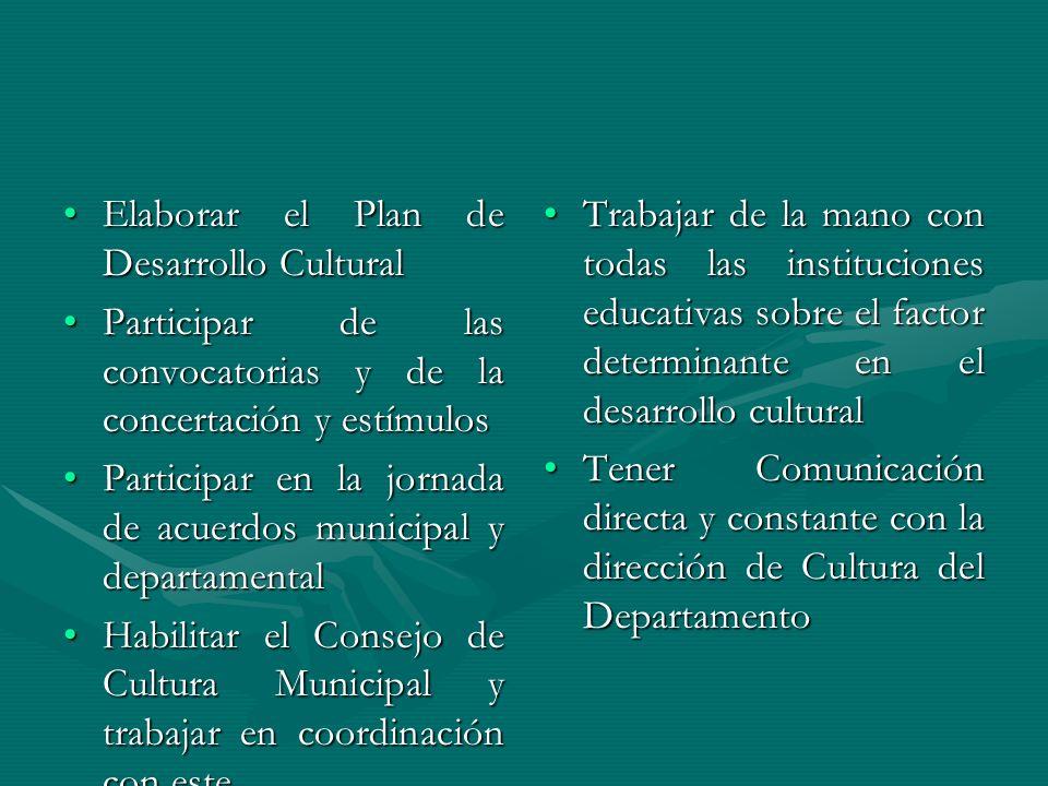 Elaborar el Plan de Desarrollo Cultural