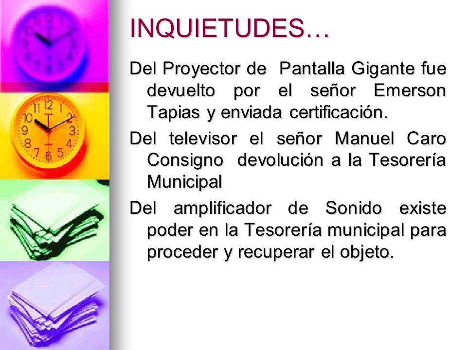 INQUIETUDES… Del Proyector de Pantalla Gigante fue devuelto por el señor Emerson Tapias y enviada certificación.
