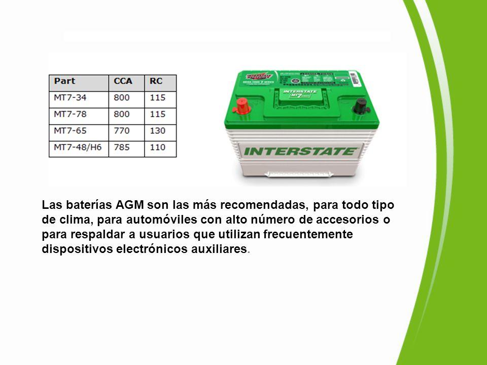 Las baterías AGM son las más recomendadas, para todo tipo de clima, para automóviles con alto número de accesorios o para respaldar a usuarios que utilizan frecuentemente dispositivos electrónicos auxiliares.