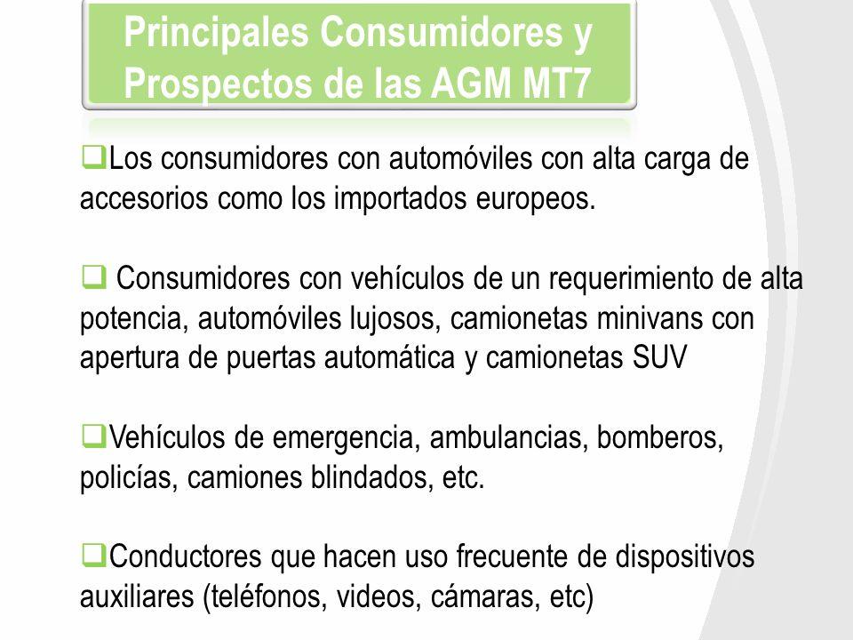 Principales Consumidores y Prospectos de las AGM MT7