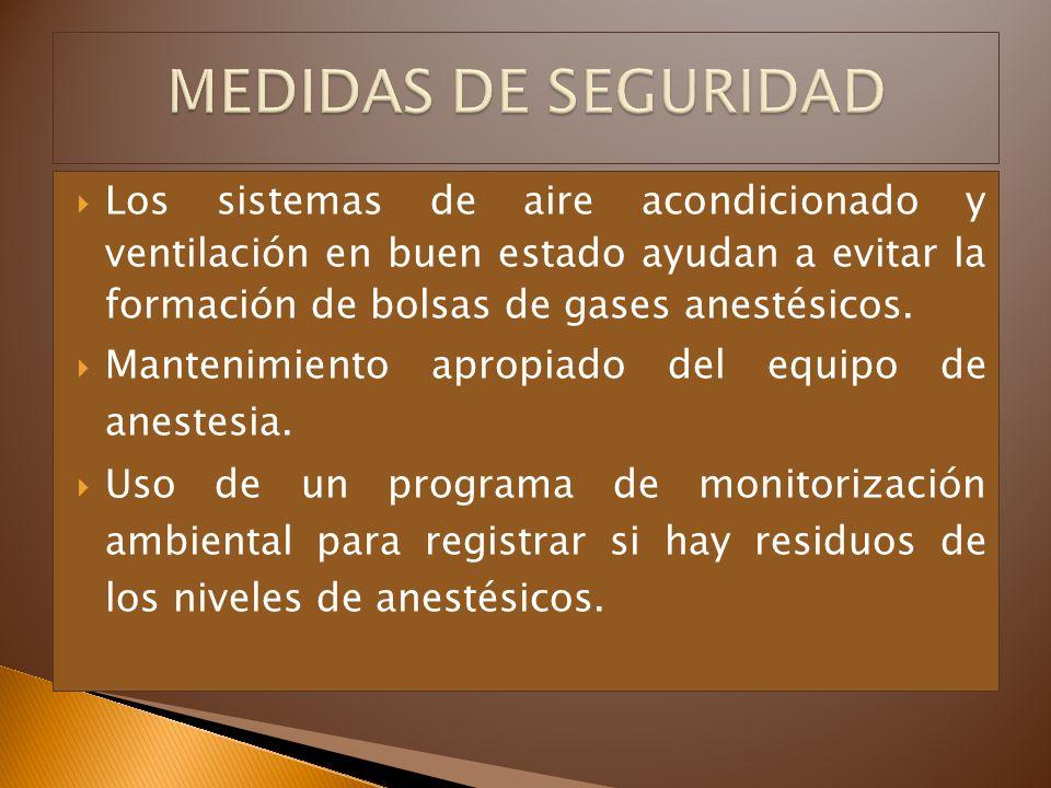 MEDIDAS DE SEGURIDAD Los sistemas de aire acondicionado y ventilación en buen estado ayudan a evitar la formación de bolsas de gases anestésicos.