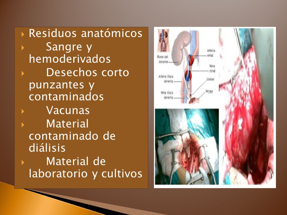 Residuos anatómicos Sangre y hemoderivados. Desechos corto punzantes y contaminados. Vacunas. Material contaminado de diálisis.