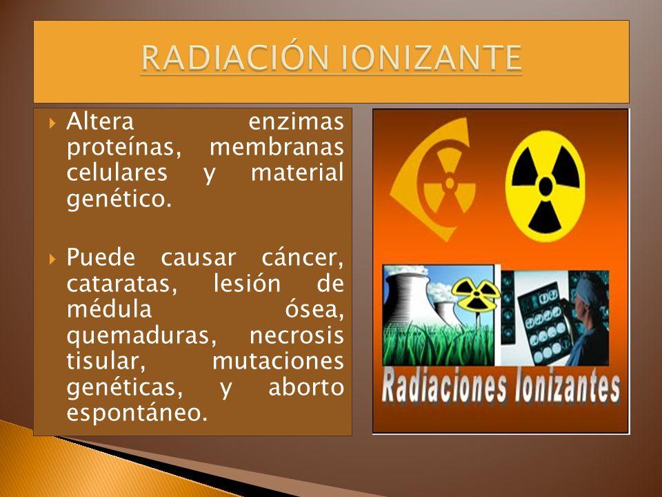 RADIACIÓN IONIZANTE Altera enzimas proteínas, membranas celulares y material genético.