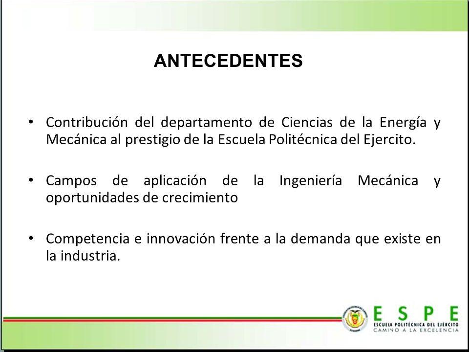 ANTECEDENTES Contribución del departamento de Ciencias de la Energía y Mecánica al prestigio de la Escuela Politécnica del Ejercito.