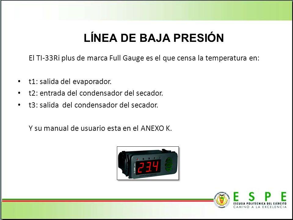 LÍNEA DE BAJA PRESIÓN El TI-33Ri plus de marca Full Gauge es el que censa la temperatura en: t1: salida del evaporador.