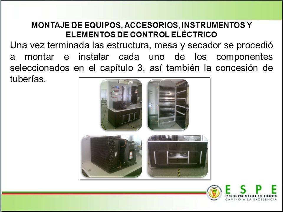 MONTAJE DE EQUIPOS, ACCESORIOS, INSTRUMENTOS Y ELEMENTOS DE CONTROL ELÉCTRICO