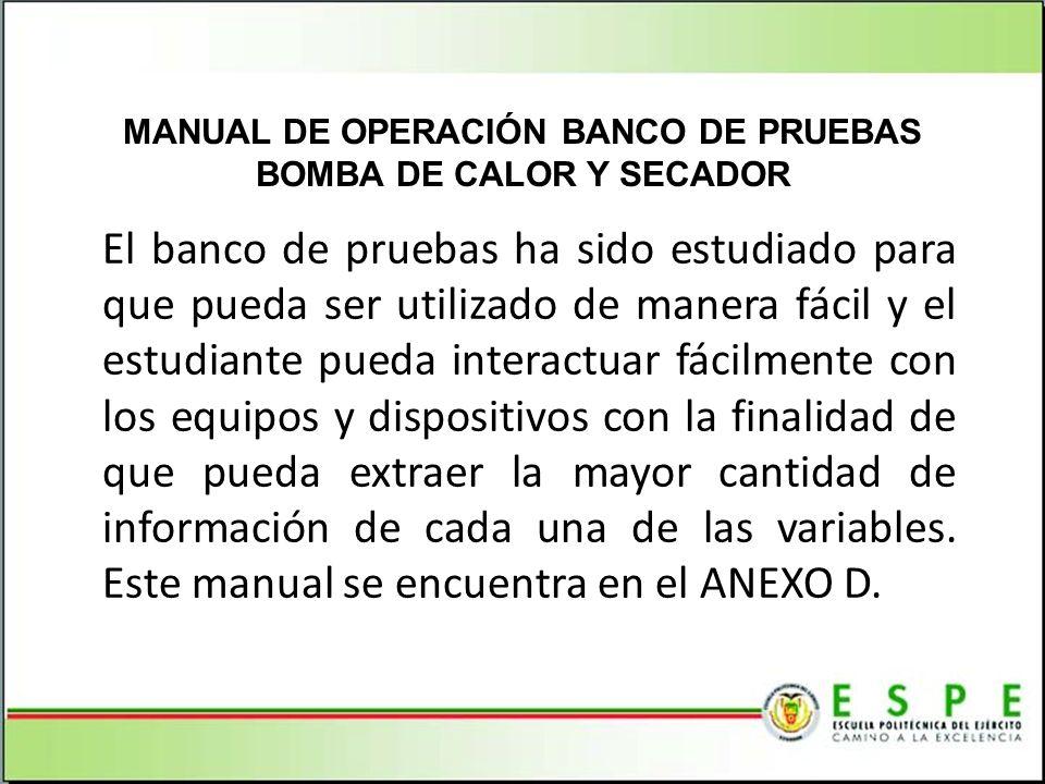 MANUAL DE OPERACIÓN BANCO DE PRUEBAS BOMBA DE CALOR Y SECADOR