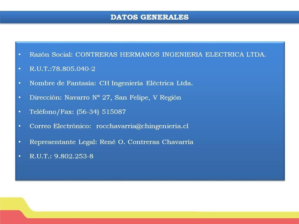 DATOS GENERALES Razón Social: CONTRERAS HERMANOS INGENIERIA ELECTRICA LTDA. R.U.T.:78.805.040-2. Nombre de Fantasía: CH Ingeniería Eléctrica Ltda.