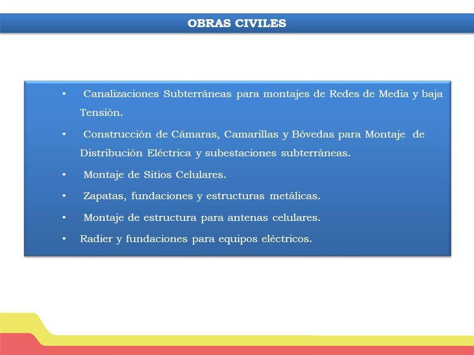 OBRAS CIVILES Canalizaciones Subterráneas para montajes de Redes de Media y baja Tensión.