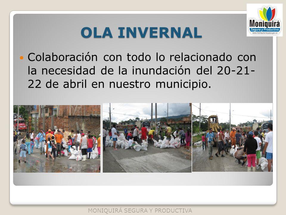 OLA INVERNAL Colaboración con todo lo relacionado con la necesidad de la inundación del 20-21- 22 de abril en nuestro municipio.