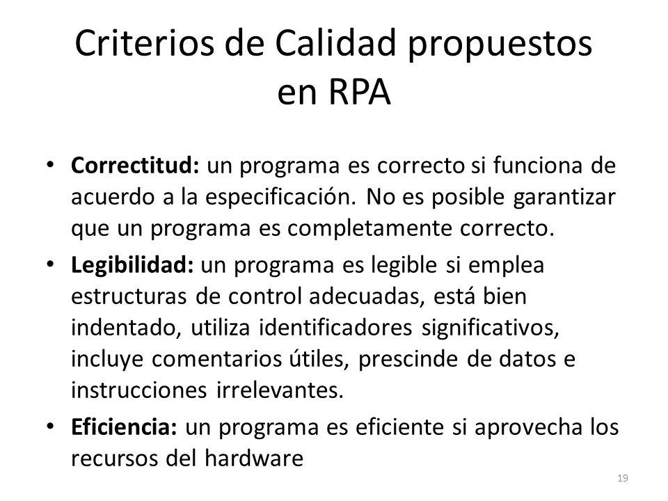 Criterios de Calidad propuestos en RPA