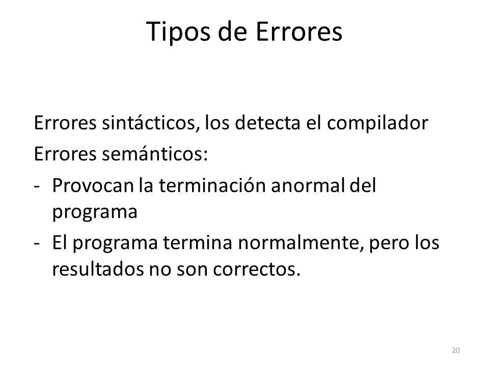 Tipos de Errores Errores sintácticos, los detecta el compilador