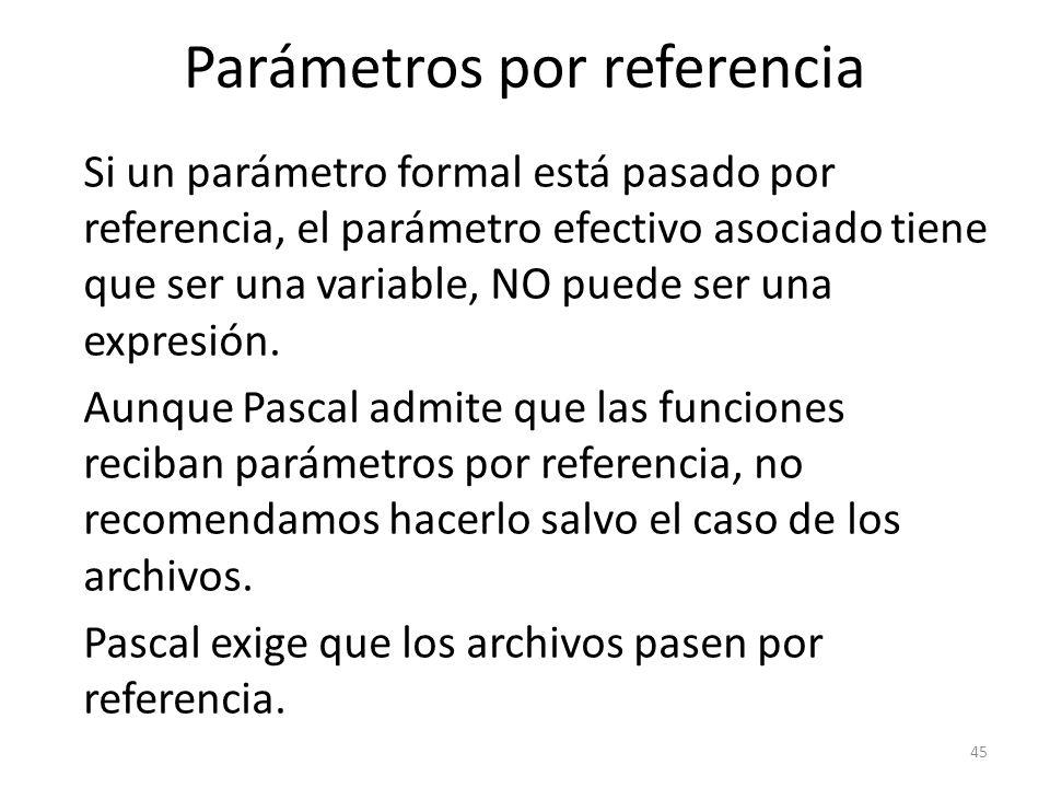 Parámetros por referencia