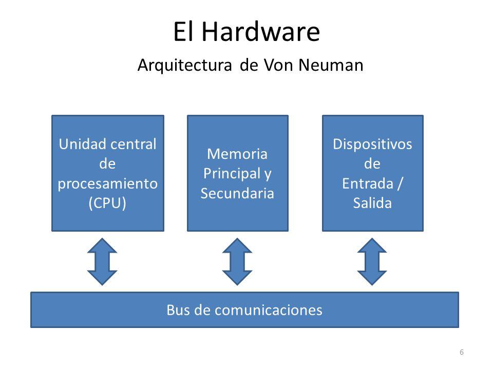 El Hardware Arquitectura de Von Neuman Unidad central de procesamiento