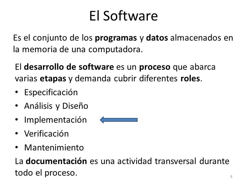 El Software Es el conjunto de los programas y datos almacenados en la memoria de una computadora.