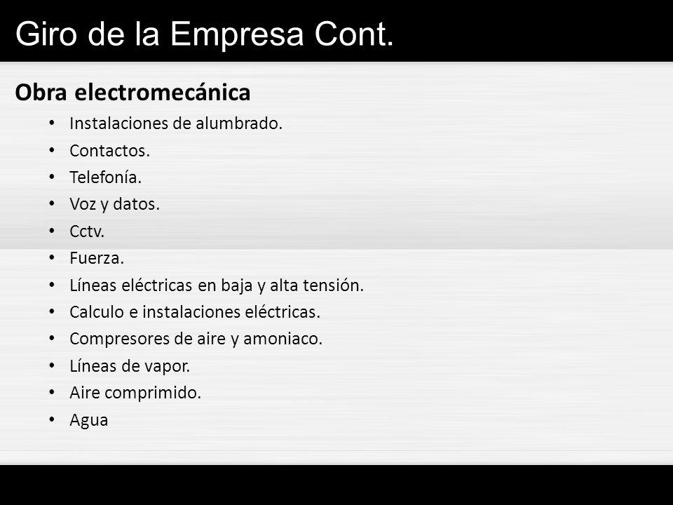 Giro de la Empresa Cont. Obra electromecánica