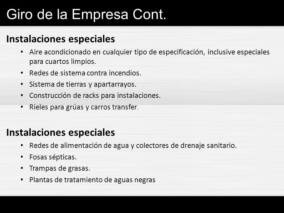 Giro de la Empresa Cont. Instalaciones especiales