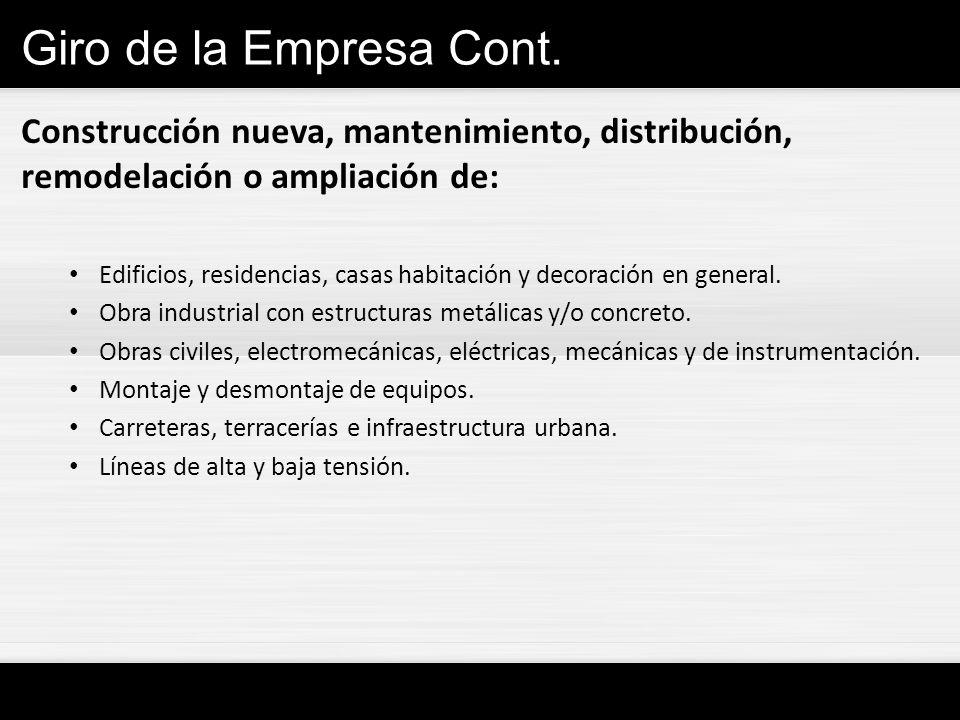 Giro de la Empresa Cont. Construcción nueva, mantenimiento, distribución, remodelación o ampliación de: