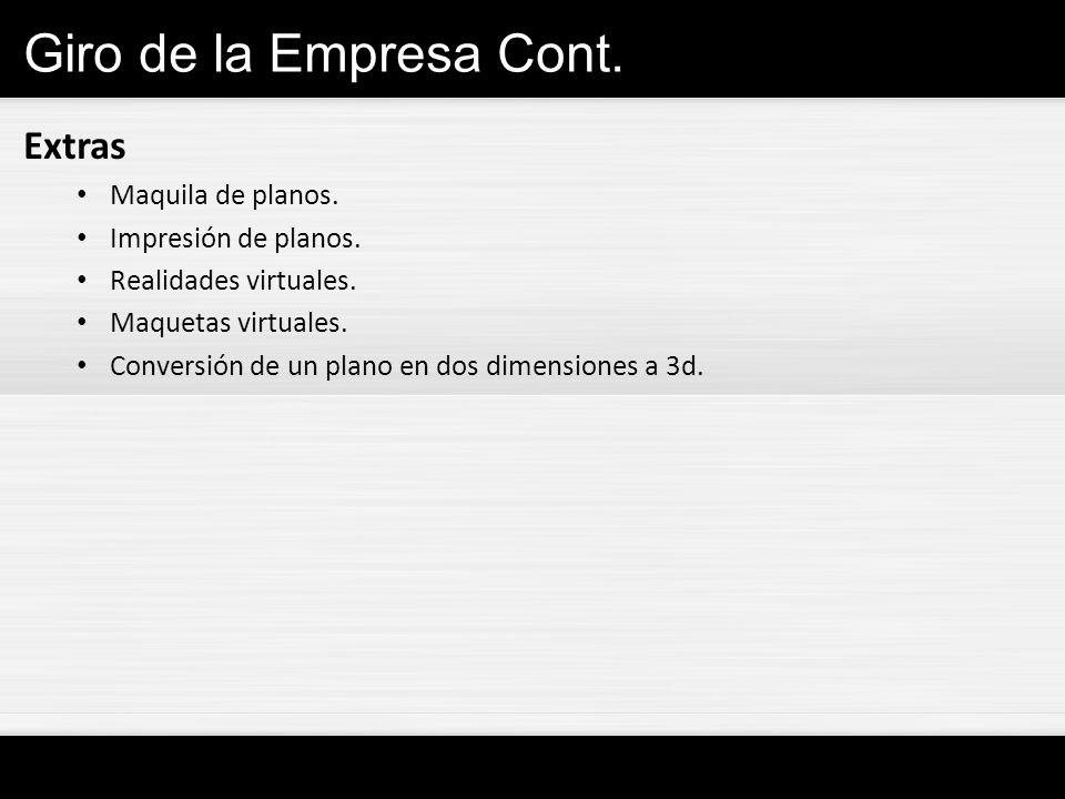 Giro de la Empresa Cont. Extras Maquila de planos.