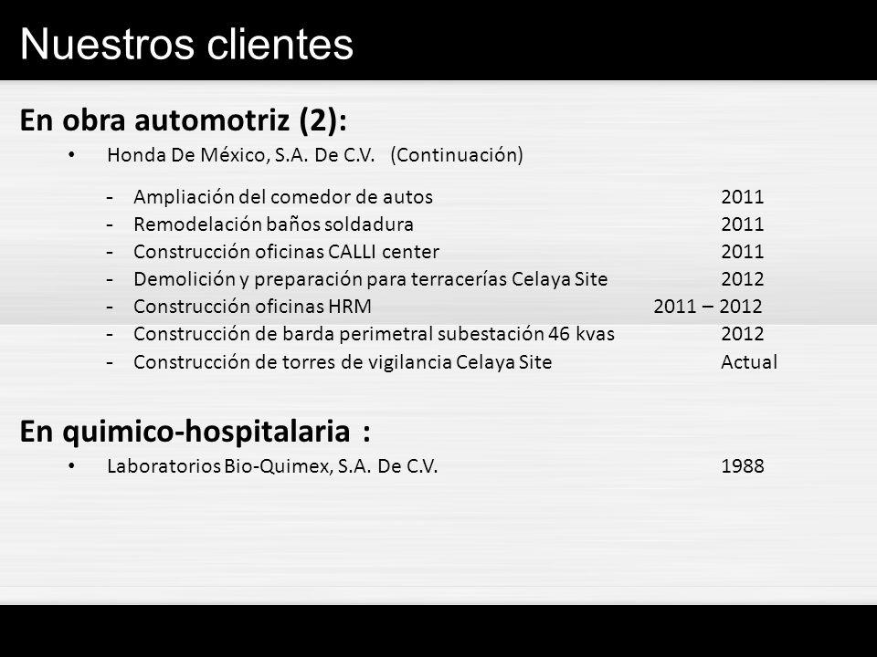 Nuestros clientes En obra automotriz (2): En quimico-hospitalaria :