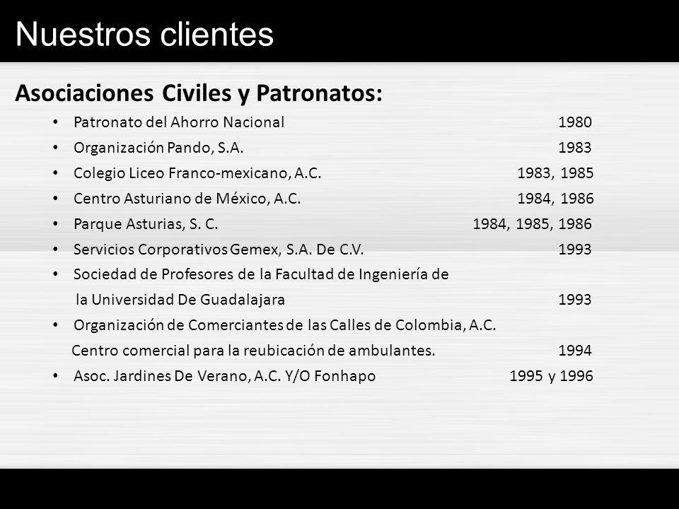 Nuestros clientes Asociaciones Civiles y Patronatos:
