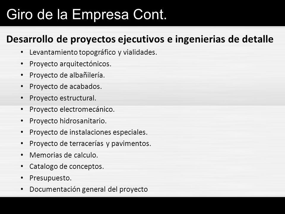 Giro de la Empresa Cont. Desarrollo de proyectos ejecutivos e ingenierias de detalle. Levantamiento topográfico y vialidades.