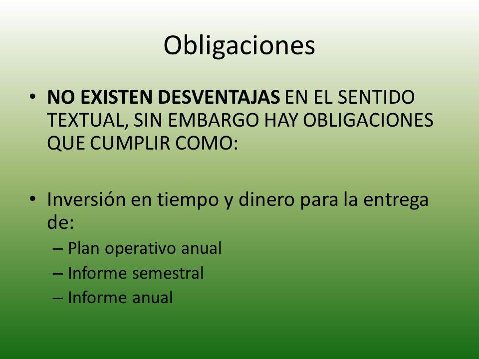 Obligaciones NO EXISTEN DESVENTAJAS EN EL SENTIDO TEXTUAL, SIN EMBARGO HAY OBLIGACIONES QUE CUMPLIR COMO: