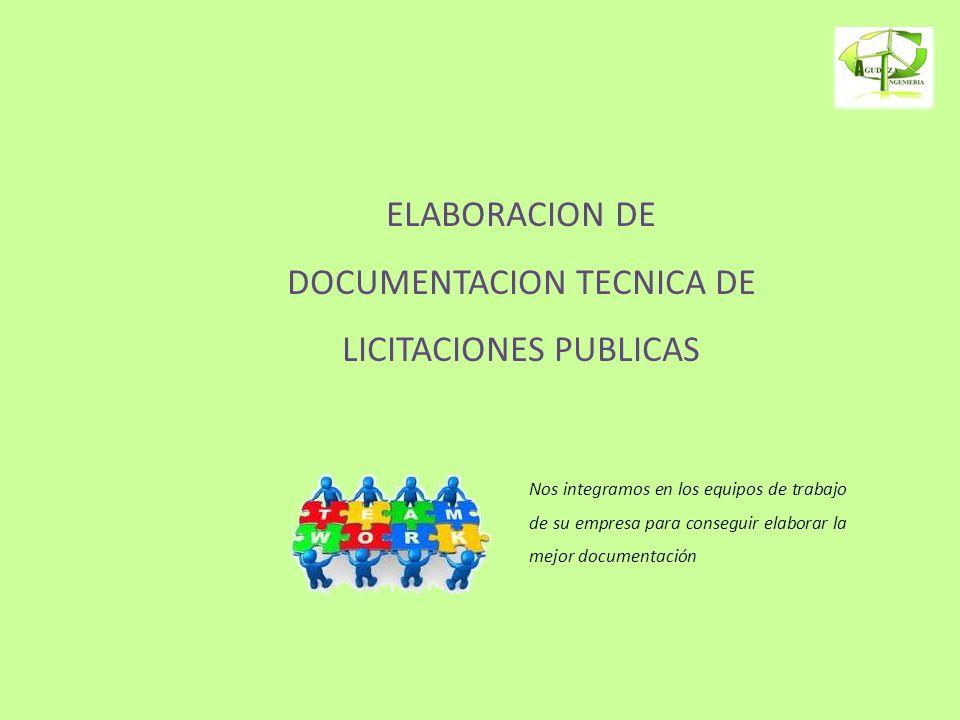 ELABORACION DE DOCUMENTACION TECNICA DE LICITACIONES PUBLICAS