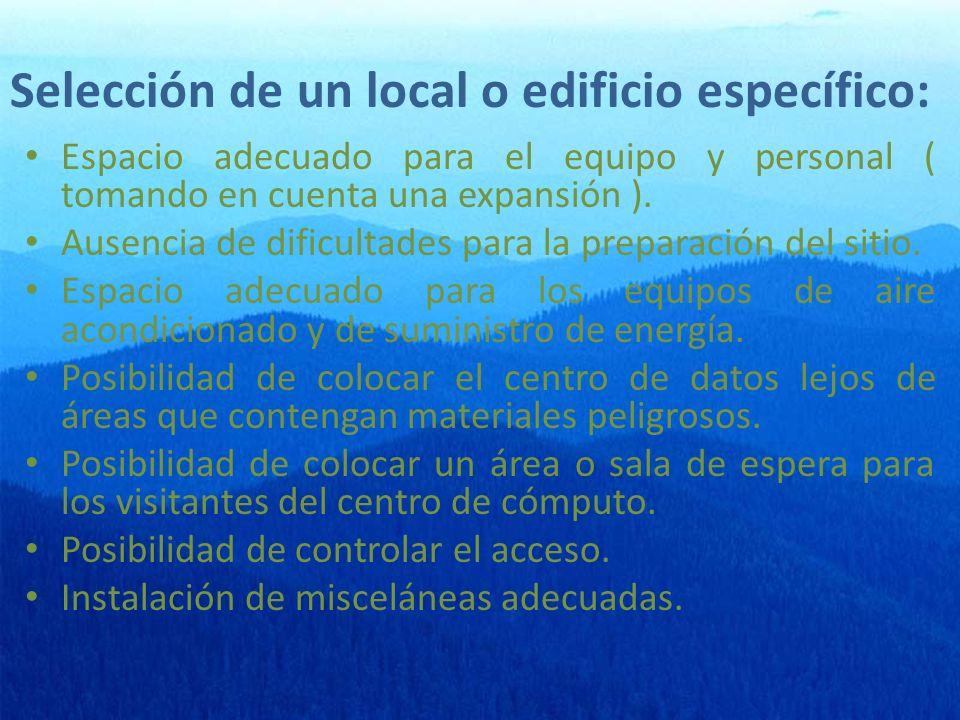 Selección de un local o edificio específico: