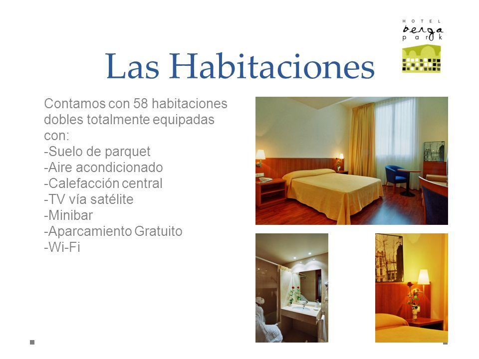 Las Habitaciones Contamos con 58 habitaciones dobles totalmente equipadas con: Suelo de parquet. Aire acondicionado.
