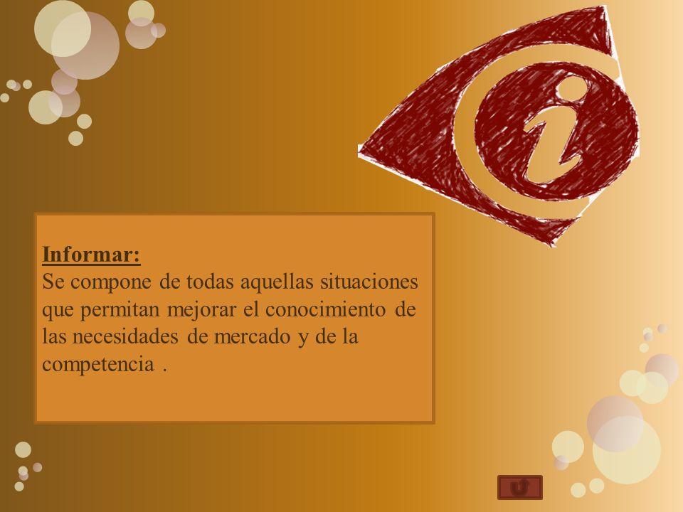 Informar: Se compone de todas aquellas situaciones que permitan mejorar el conocimiento de las necesidades de mercado y de la competencia .