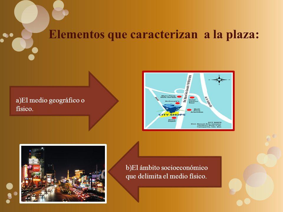 Elementos que caracterizan a la plaza: