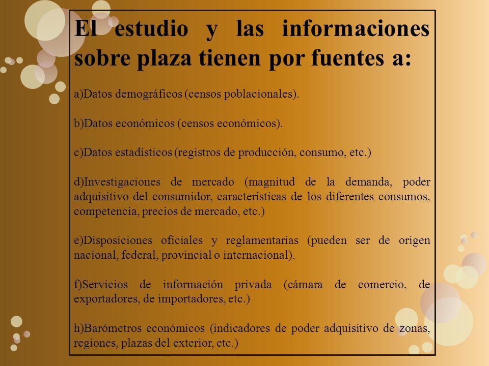 El estudio y las informaciones sobre plaza tienen por fuentes a: