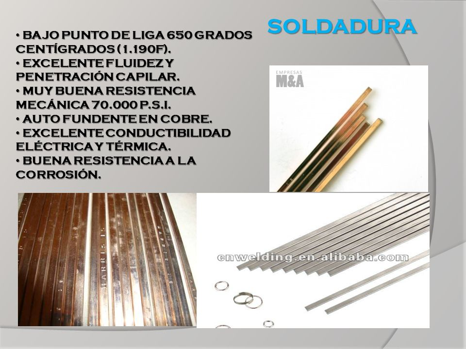 SOLDADURA BAJO PUNTO DE LIGA 650 GRADOS CENTÍGRADOS (1.190F).