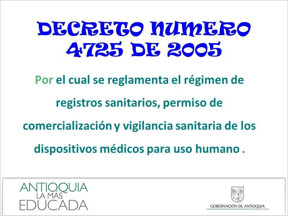 DECRETO NUMERO 4725 DE 2005