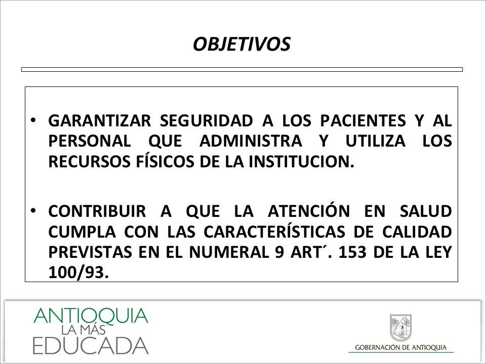 OBJETIVOS GARANTIZAR SEGURIDAD A LOS PACIENTES Y AL PERSONAL QUE ADMINISTRA Y UTILIZA LOS RECURSOS FÍSICOS DE LA INSTITUCION.