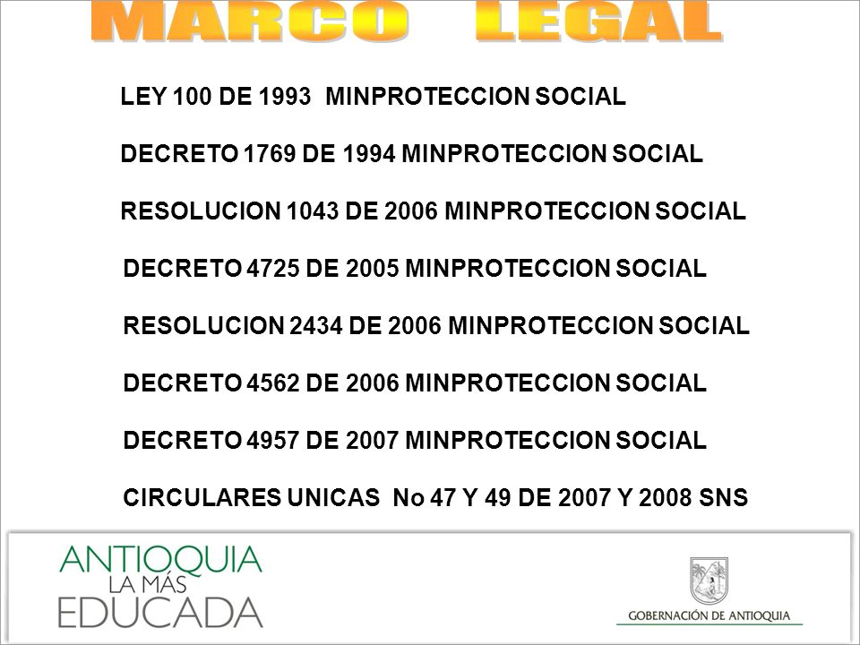 MARCO LEGAL LEY 100 DE 1993 MINPROTECCION SOCIAL