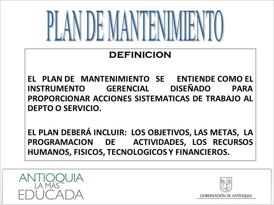 PLAN DE MANTENIMIENTO DEFINICION