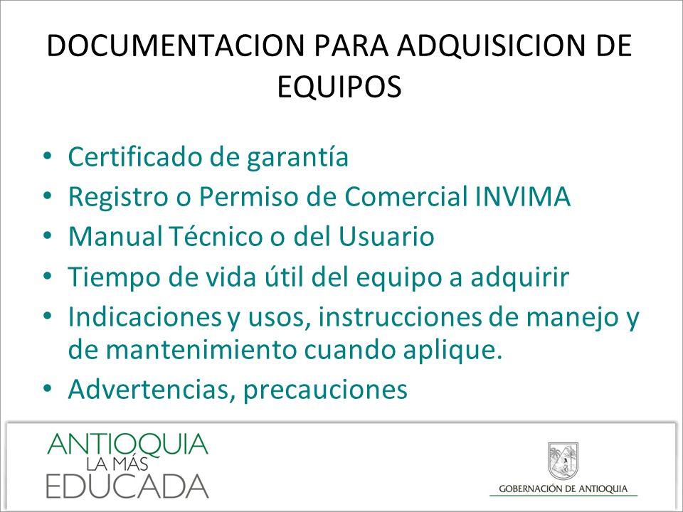 DOCUMENTACION PARA ADQUISICION DE EQUIPOS