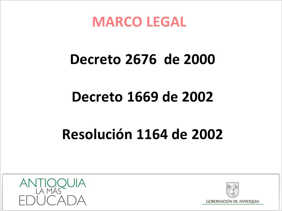 MARCO LEGAL Decreto 2676 de 2000 Decreto 1669 de 2002 Resolución 1164 de 2002